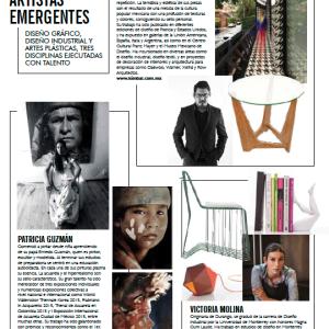 """Revista Ambientes. Sección """"Abran Paso ... Artistas Emergentes"""" (Make room... Emerging Artists section). Año 13, número 89. 2015."""