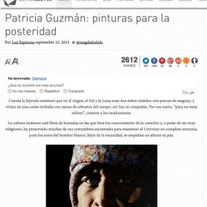 Patricia Guzmán: Pinturas para la posteridad por Luz Espinosa. Cultura Colectiva. 2013. http://culturacolectiva.com/patricia-guzman-pinturas-para-la-posteridad/